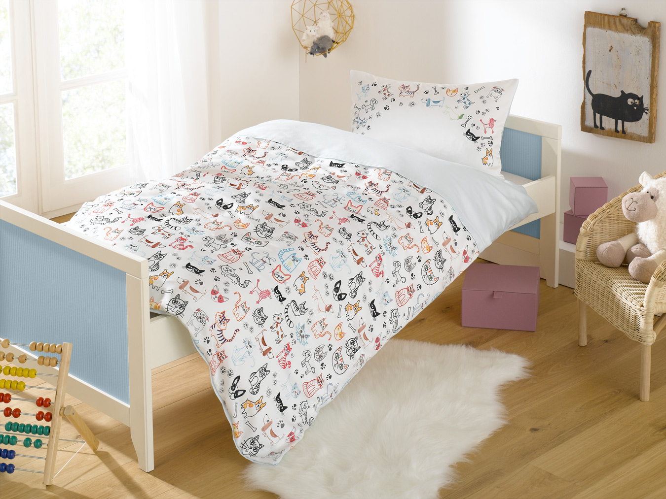 cats dogs kinder bettw sche wei bettwaesche mit stil. Black Bedroom Furniture Sets. Home Design Ideas