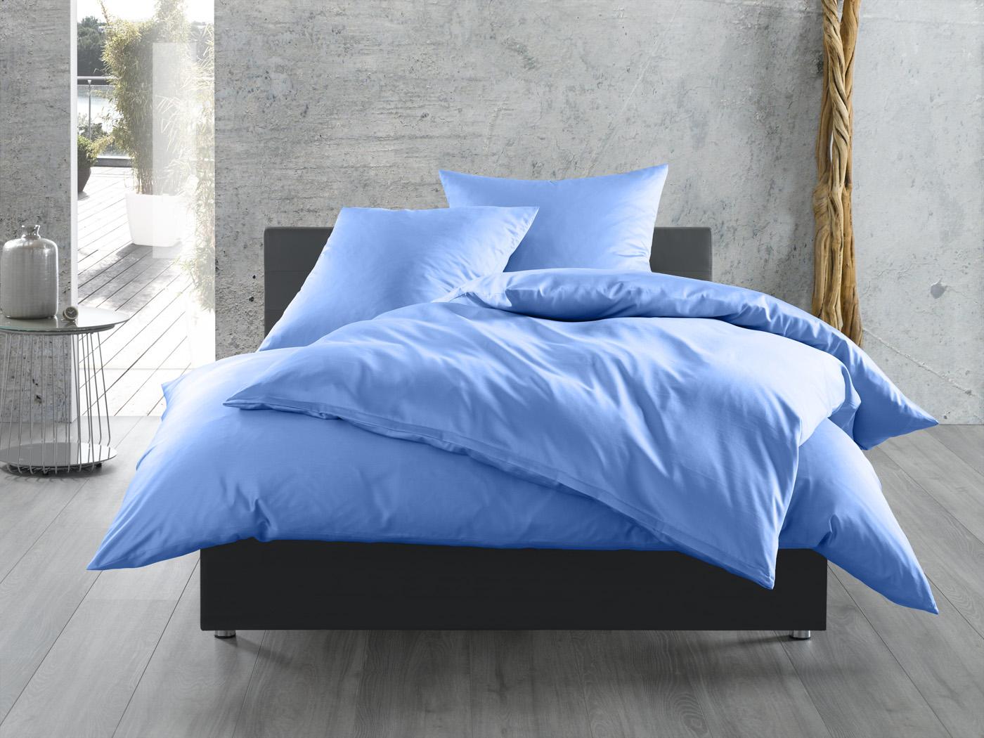 Bettwäsche Hellblau Uni Mako Satin Aus 100 Baumwolle