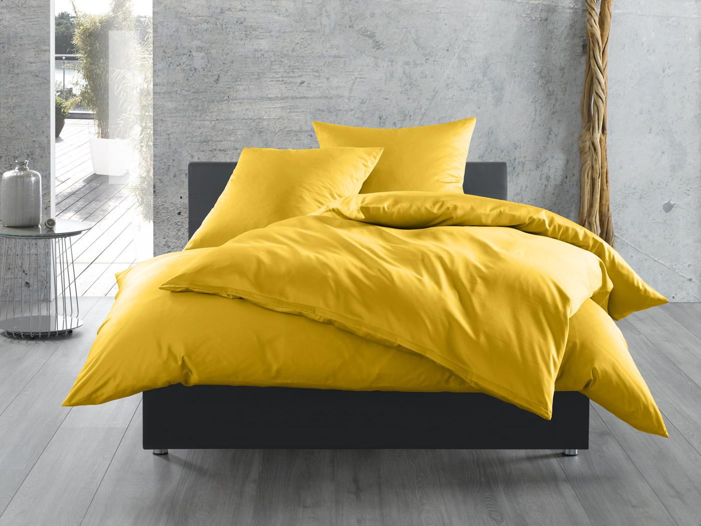 Bettwaesche Mit Stil Mako Satin Baumwollsatin Bettwäsche Uni Einfarbig Gelb