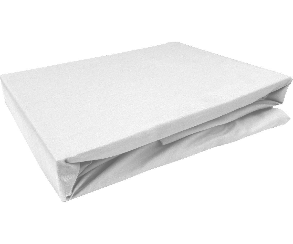 Spannbettlaken  Satinbaumwolle  Bettlaken mit Gummizug  Weiß