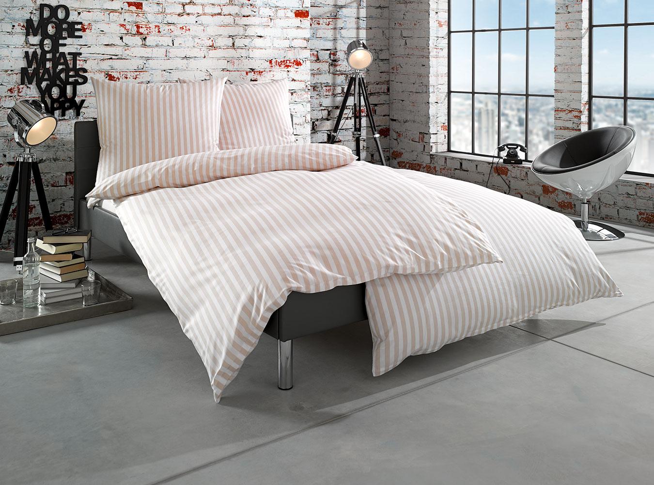 mako batist landhaus bettw sche gestreift beige online kaufen bms. Black Bedroom Furniture Sets. Home Design Ideas