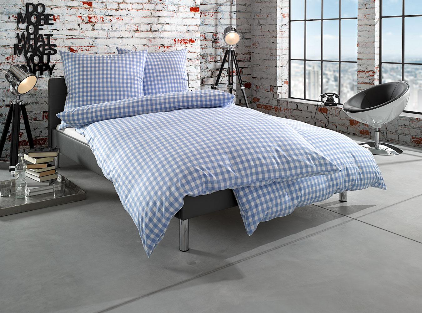 mako batist landhaus bettw sche karo hellblau online. Black Bedroom Furniture Sets. Home Design Ideas
