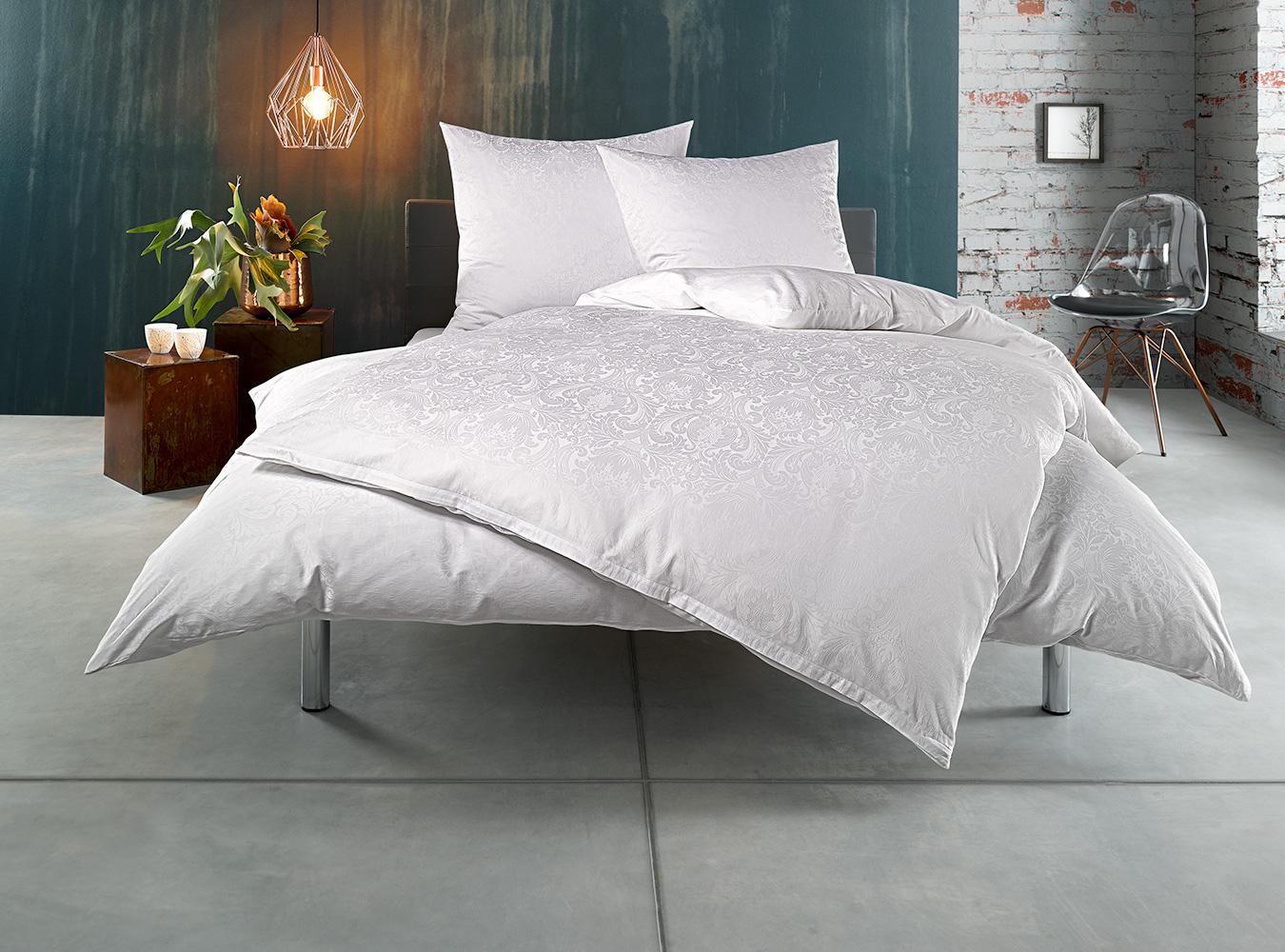 mako satin damast bettw sche ornament wei kissen 40x80. Black Bedroom Furniture Sets. Home Design Ideas