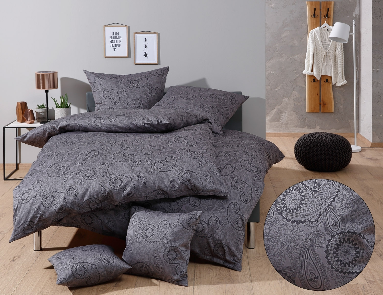 mako satin damast paisley bettw sche davos schwarz online. Black Bedroom Furniture Sets. Home Design Ideas