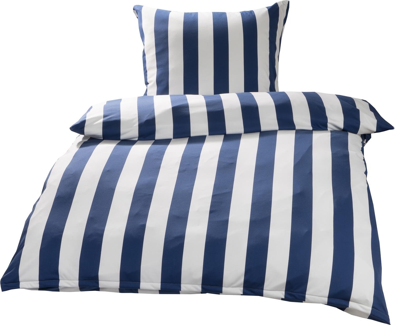 Mako Interlock Jersey Bettwäsche Streifen Blau Weiß Garnitur