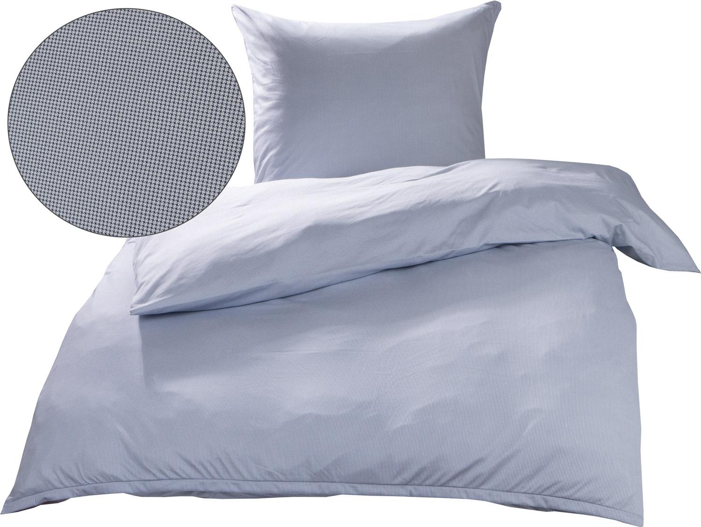 Mako Interlock Jersey Bettwäsche Pepita Blau Weiß Garnitur 135x200