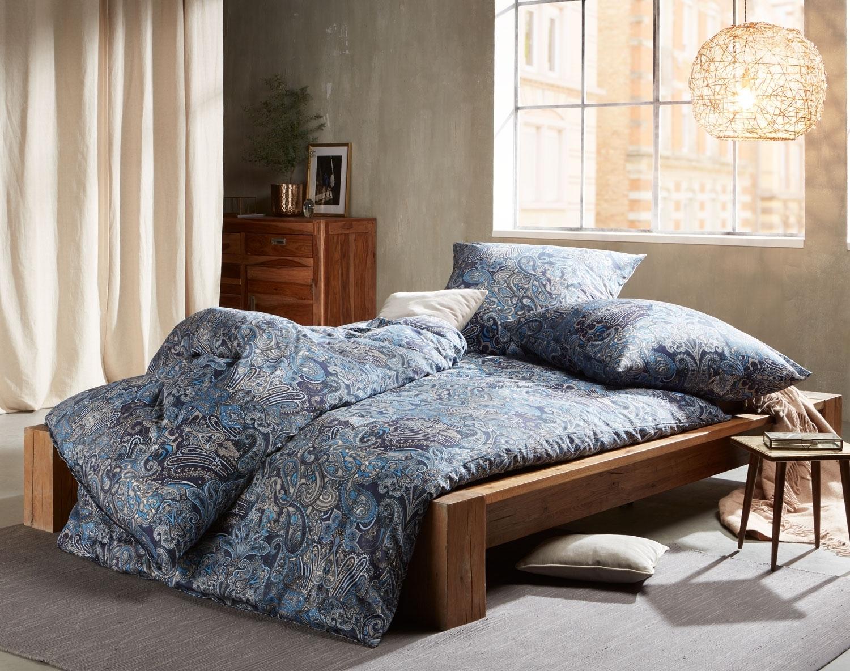 Mako Satin Paisley Bettwäsche orientalisch blau