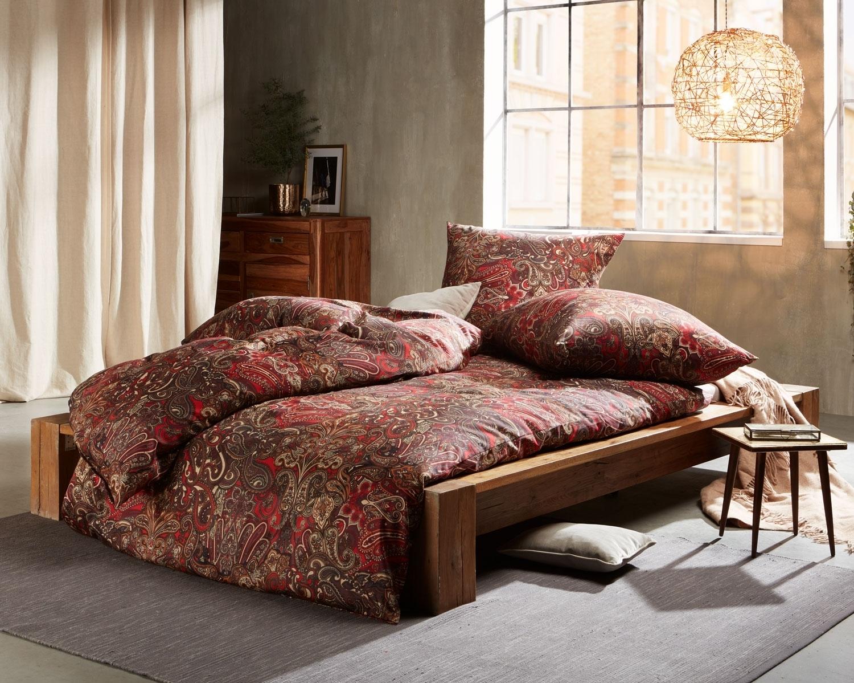 Satin Bettwasche Mit Floralem Paisley Muster 1