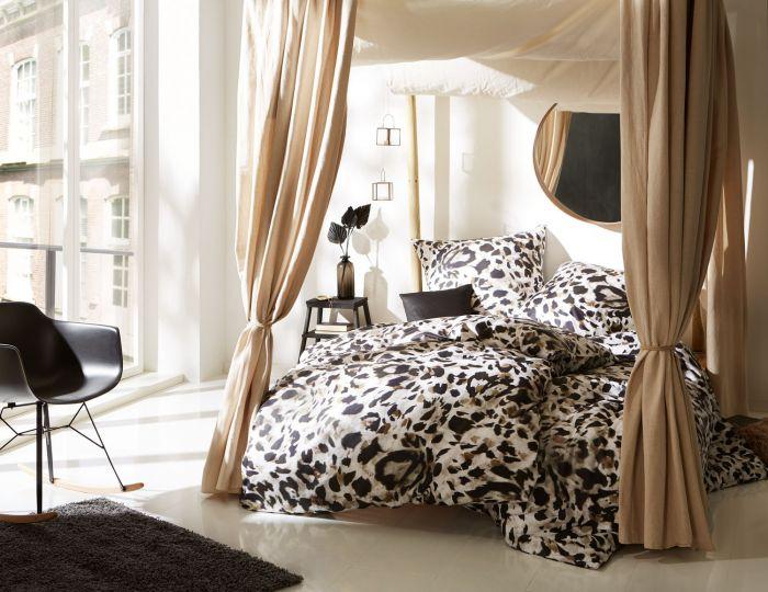 Mako Satin Bettwäsche Leopard weiß