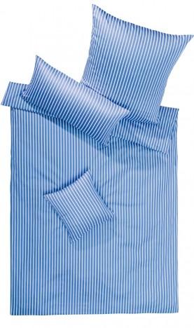 Lorena Mako Satin Streifen Bettwäsche 200x220 cm San Remo hellblau