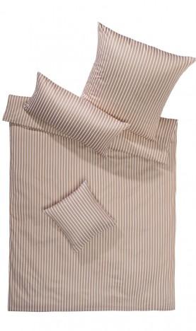 Lorena Mako Satin Streifen Bettwäsche 200x220 cm San Remo Beige