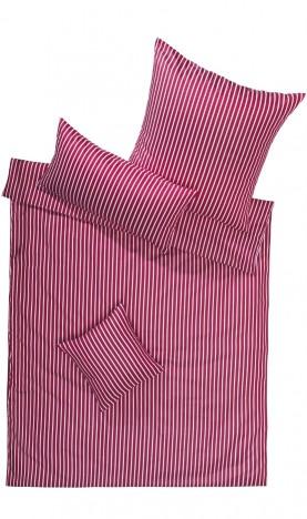Lorena Mako Satin Streifen Bettwäsche 200x220 cm San Remo Rot