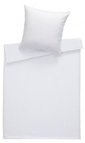 Bettwaesche-mit-Stil Mako Satin Damast Bettwäsche 155x220 Stripes 10mm weiß