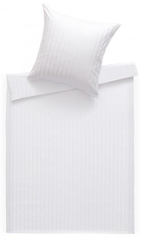 Bettwaesche-mit-Stil Mako Satin Damast Bettwäsche 155x220 Stripes 20mm weiß