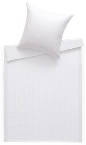 Mako Satin Damast Bettwäsche 200x220 cm Stripes 20mm weiß