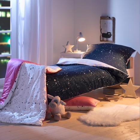 Lorenchen von Lorena Kinderbettwäsche Sternenhimmel rosa oder blau für Mädchen und Jungen