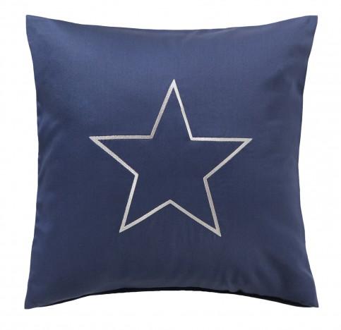 Bettwaesche-mit-Stil Mako-Satin Kissenbezug maritim Sternen Stickerei dunkelblau-grau