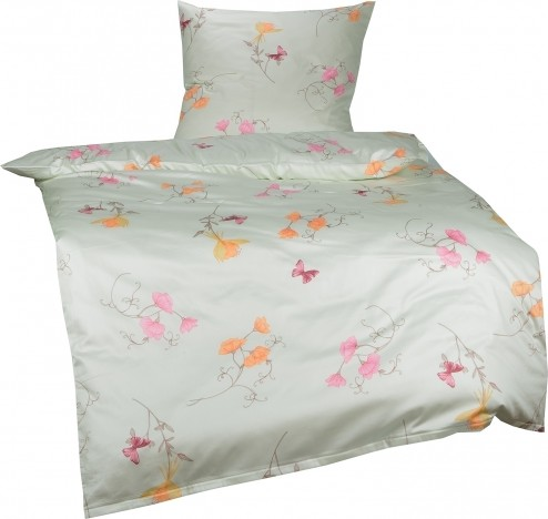 Bettwaesche-mit-Stil Mako-Satin Bettwäsche Blumen Bettwäsche rosa orange