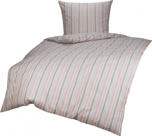 Bettwaesche-mit-Stil Mako Perkal/Batist Streifen Bettwäsche Multicolor Rot/Lila Garnitur 135x200 + 80x80