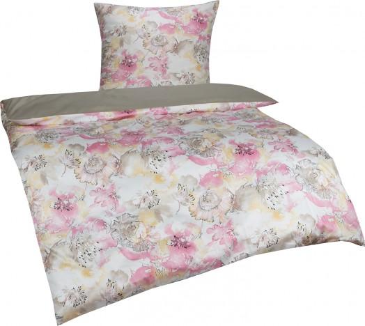 Bettwaesche-mit-Stil Mako-Satin Wendebettwäsche 155x220 Moni Blumen taupe rosé