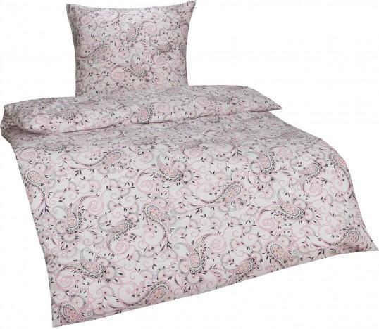 Bettwaesche-mit-Stil Retro / Vintage Feinflanell Bettwäsche Paisley weiß/rosa