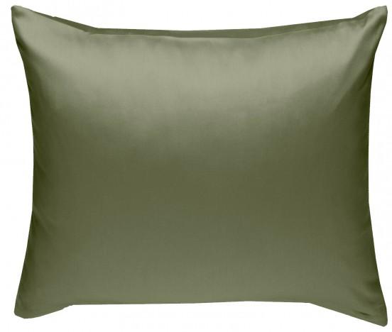 Mako Satin Kissenbezug dunkelgrün (oliv) 100% Baumwolle von Bettwaesche-mit-Stil