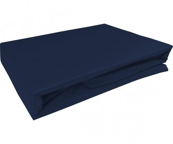 Bettwaesche-mit-Stil Mako-Satin Spannbettlaken dunkelblau