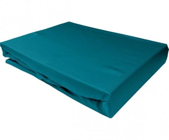 Bettwaesche-mit-Stil Mako-Satin Spannbettlaken petrol blau