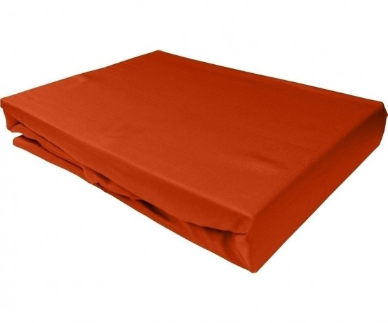 Bettwaesche-mit-Stil Mako-Satin Spannbettlaken orange
