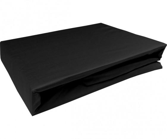 Bettwaesche-mit-Stil Mako-Satin Spannbettlaken schwarz