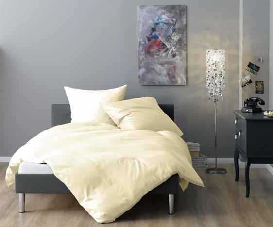 Lorena Mako Satin Streifen Bettwäsche 200x220 cm Venedig vanille