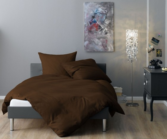 Lorena Mako Satin Streifen Bettwäsche 200x220 cm Venedig braun