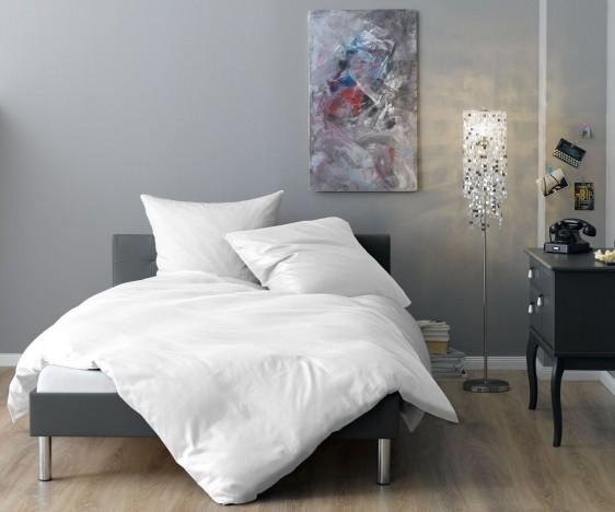 Lorena Mako Satin Streifen Bettwäsche 200x220 cm Venedig weiß