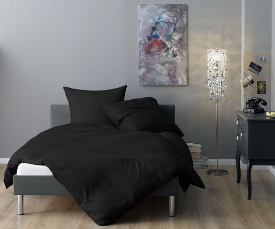 Lorena Mako Satin Streifen Bettwäsche 200x220 cm Venedig schwarz