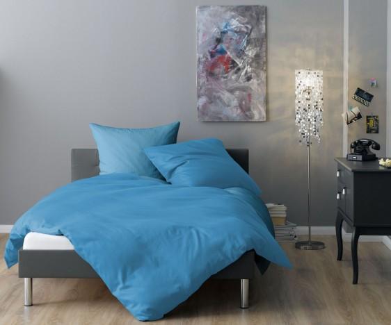 Lorena Mako-Satin Streifenbettwäsche Venedig hellblau