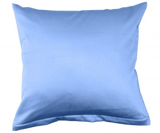 Lorena Mako Satin Bettwäsche uni Classic Azur Blau Kissenbezug