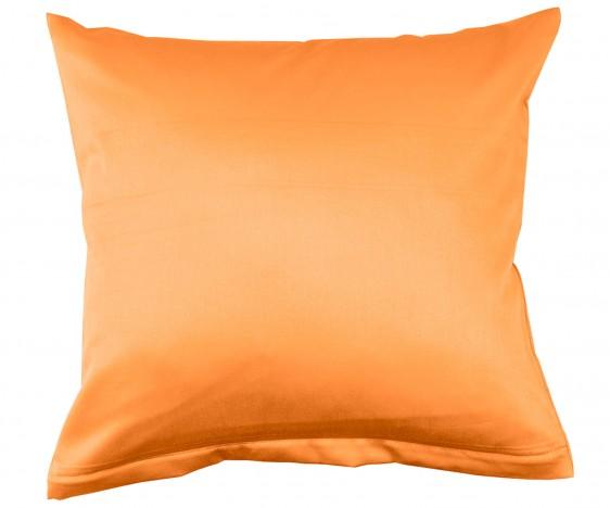 Lorena Mako Satin Bettwäsche uni Classic Mandarin Orange Kissenbezug