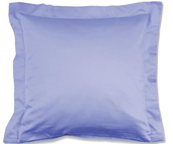 Lorena Mako-Satin einfarbiges Kissen mit Stehsaum Classic azurblau