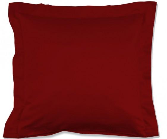 Lorena Mako-Satin einfarbiges Kissen mit Stehsaum Classic burgund-rot