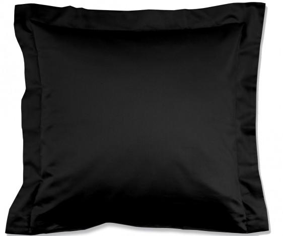 Lorena Mako-Satin einfarbiges Kissen mit Stehsaum Classic schwarz