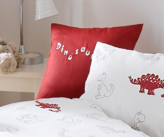 Lorena Mako-Satin Zierkissen Dinosaurier mit Stickerei Rot 40x40