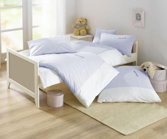 Lorena Mako-Batist Streifen Kinder-Bettwäsche Gute Nacht Blau
