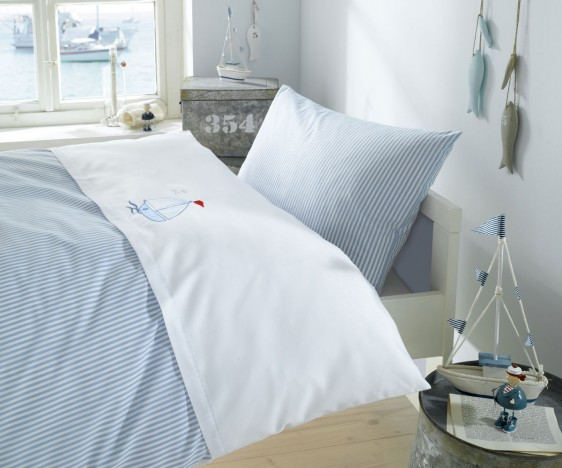 Lorena Mako-Batist Streifen Kinder-Bettwäsche Segelboot Blau