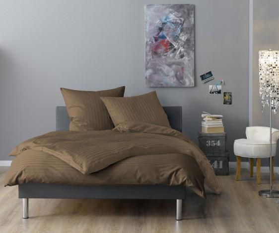 Lorena Mako Satin Streifen Bettwäsche 200x220 cm Verona taupe
