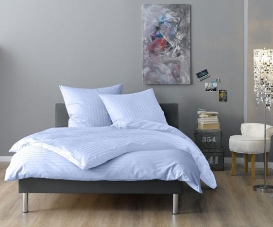 Lorena Mako Satin Streifen Bettwäsche 200x220 cm Verona hellblau