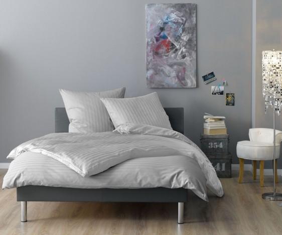 Lorena Mako Satin Streifen Bettwäsche 200x220 cm Verona grau