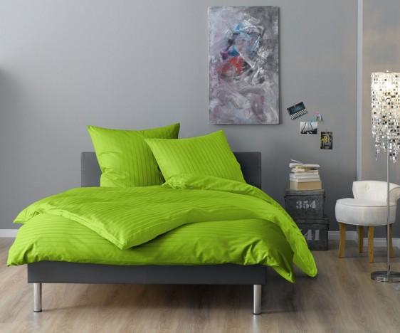 Lorena Mako Satin Streifen Bettwäsche 200x220 cm Verona apfelgrün