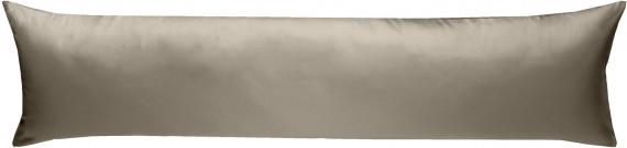 Mako-Satin Seitenschläferkissen Bezug uni / einfarbig braun 40x145 cm