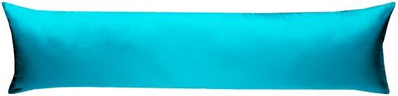 Mako-Satin Seitenschläferkissen Bezug uni / einfarbig türkis 40x145 cm von Bettwaesche-mit-Stil