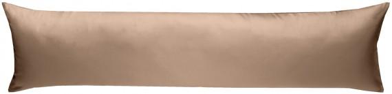 Mako-Satin Seitenschläferkissen Bezug uni / einfarbig hellbraun 40x145 cm von Bettwaesche-mit-Stil